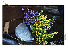 Blue And Yellow Flowers Carry-all Pouch by Mary Machare