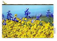 Blue And Yellow Wildflowers Carry-all Pouch by Holly Blunkall