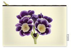 Blue Auricula On A Cream Background Carry-all Pouch