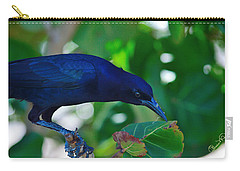 Blue-black Black Bird Carry-all Pouch by Susan Molnar