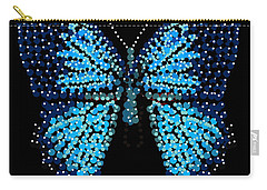 Blue Butterfly Black Background Carry-all Pouch
