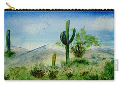 Carry-all Pouch featuring the painting Blue Cactus by Jamie Frier