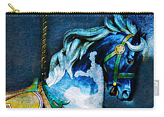 Blue Carousel Horse Carry-all Pouch