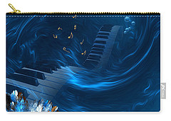 Carry-all Pouch featuring the digital art Blue Coral Melody - Fantasy Art By Giada Rossi by Giada Rossi