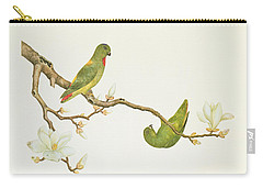 Blue Crowned Parakeet Hannging On A Magnolia Branch Carry-all Pouch by Chinese School