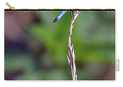 Blue Dragonfly On A Blade Of Grass  Carry-all Pouch by Chris Flees
