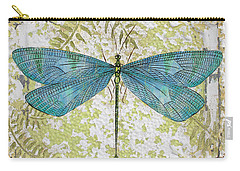 Blue Dragonfly On Vintage Tin Carry-all Pouch by Jean Plout