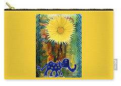 Carry-all Pouch featuring the painting Blue Elephant In The Rainforest by Mukta Gupta