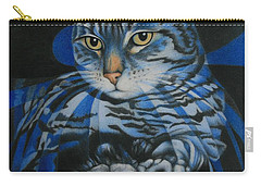 Blue Feline Geometry Carry-all Pouch by Pamela Clements