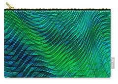 Blue Green Fabric Abstract Carry-all Pouch by Jane McIlroy