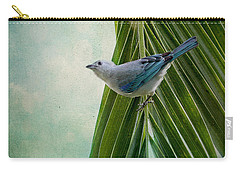 Blue Grey Tanager On A Palm Tree Carry-all Pouch by Peggy Collins