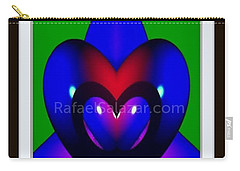Carry-all Pouch featuring the painting Blue Hearts by Rafael Salazar