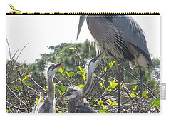 Carry-all Pouch featuring the photograph Blue Heron Family by Ron Davidson