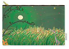 Carry-all Pouch featuring the digital art Blue Heron Grasses by Kim Prowse