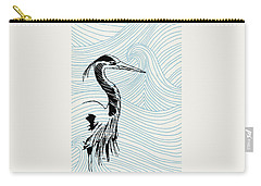 Blue Heron On Waves Carry-all Pouch