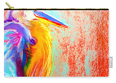 Funky Blue Heron Bird Carry-all Pouch