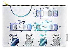 Blue Hockey Art - Hockey Puck Patent - Sharon Cummings Carry-all Pouch