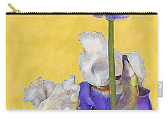Carry-all Pouch featuring the digital art Blue Iris On Gold by Jane Schnetlage