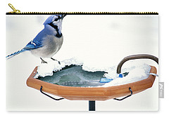 Blue Jay At Heated Birdbath Carry-all Pouch by Steve and Dave Maslowski