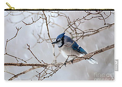 Blue Jay In Blowing Snow Carry-all Pouch