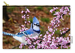 Blue Jay In The Pink Carry-all Pouch