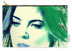 Blue Lips On Green Carry-all Pouch