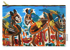 Carry-all Pouch featuring the painting Blue Manes And Yellow Saddles by Mary Carol Williams