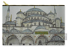 Carry-all Pouch featuring the painting Blue Mosque Istanbul Turkey by Malinda  Prudhomme