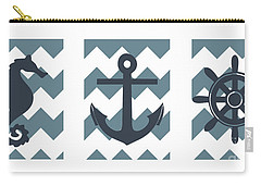 Blue Nautical Collage Carry-all Pouch