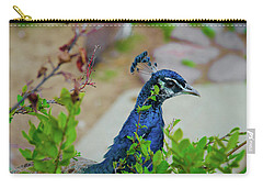 Blue Peacock Green Plants Carry-all Pouch by Jonah  Anderson