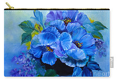 Carry-all Pouch featuring the painting Blue Poppies by Jenny Lee