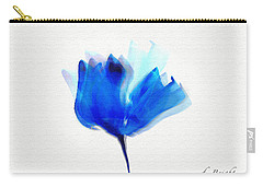Blue Poppy Silouette Mixed Media  Carry-all Pouch