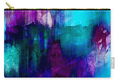 Carry-all Pouch featuring the painting Blue Rain  Abstract Art   by Ann Powell