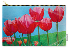 Blue Ray Tulips Carry-all Pouch by Pamela Clements