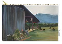 Carry-all Pouch featuring the painting Blue Ridge Vineyard by Donna Tuten