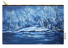 Carry-all Pouch featuring the painting Blue Silence by Vesna Martinjak