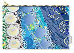 Carry-all Pouch featuring the digital art Blue Swirls Detail by Kim Prowse