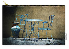 Carry-all Pouch featuring the photograph Blue Table And Chairs by Lucinda Walter