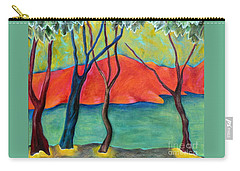 Blue Tree 2 Carry-all Pouch by Elizabeth Fontaine-Barr