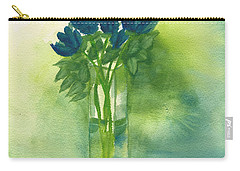 Blue Tulips In Glass Vase Carry-all Pouch