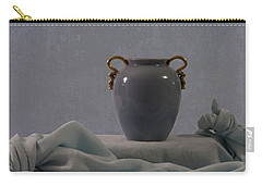 Blue Vase And Damask Carry-all Pouch by Sandra Foster