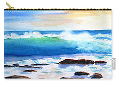 Blue Water Wave Crashing On Rocks Carry-all Pouch