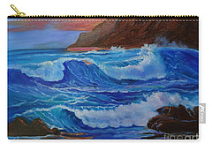 Carry-all Pouch featuring the painting Blue Waves Hawaii by Jenny Lee