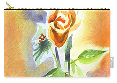 Carry-all Pouch featuring the painting Blue With Redy Roses And Holly by Kip DeVore