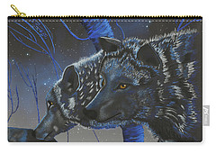 Blue Wolves With Stars Carry-all Pouch
