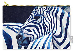 Carry-all Pouch featuring the painting Blue Zebra by Alison Caltrider