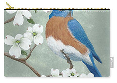 Carry-all Pouch featuring the painting Bluebird And Dogwood by Fran Brooks
