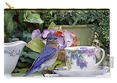 Bluebird And Tea Cups Carry-all Pouch by Luana K Perez