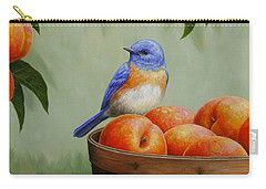 Bluebird And Peaches Greeting Card 3 Carry-all Pouch