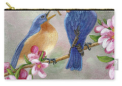 Carry-all Pouch featuring the painting Bluebird Love by Fran Brooks